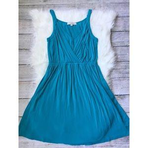 {LOFT} Blue Faux Wrap Flowy Dress